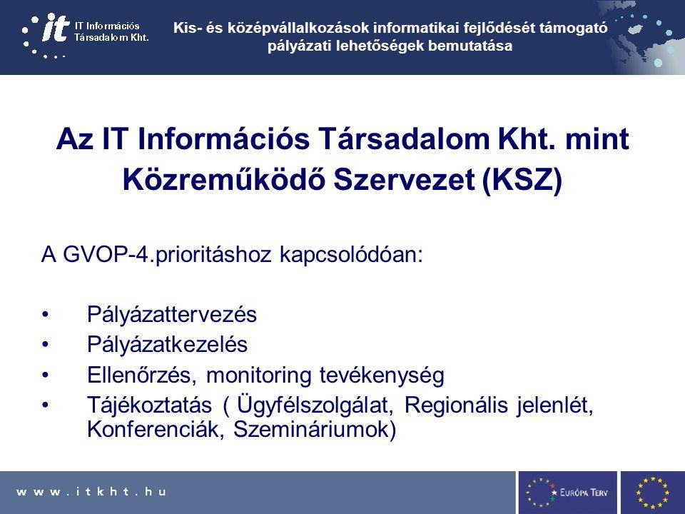 Kis- és középvállalkozások informatikai fejlődését támogató pályázati lehetőségek bemutatása Az IT Információs Társadalom Kht.