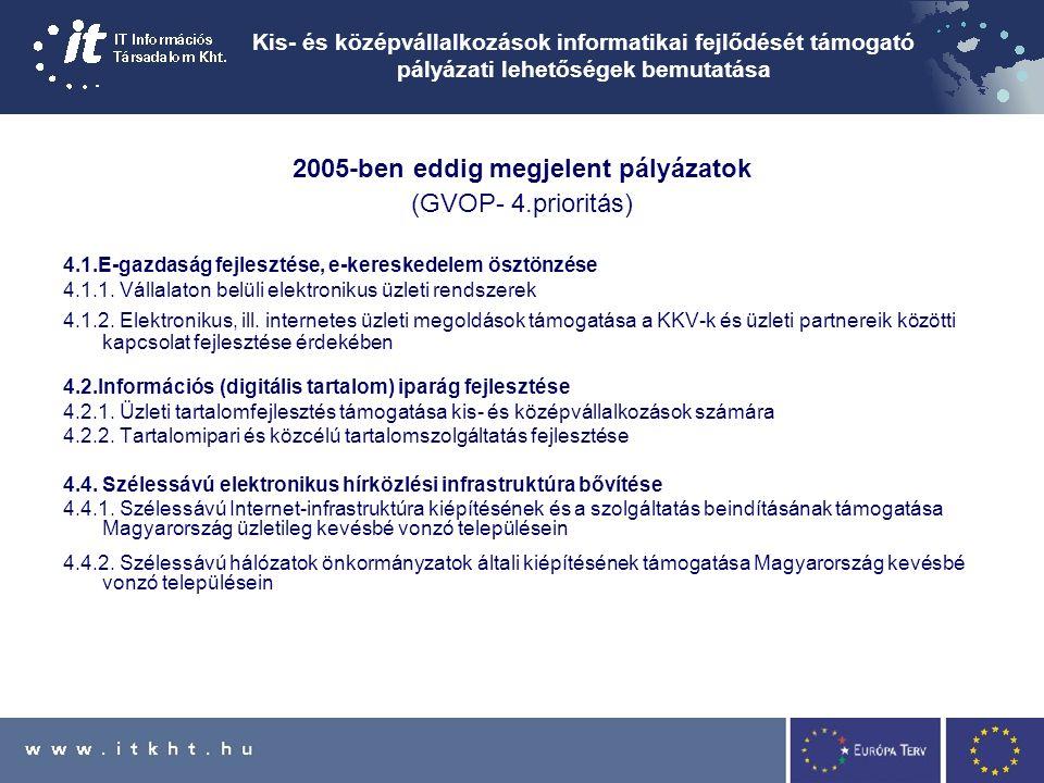 Kis- és középvállalkozások informatikai fejlődését támogató pályázati lehetőségek bemutatása 2005-ben eddig megjelent pályázatok (GVOP- 4.prioritás) 4.1.E-gazdaság fejlesztése, e-kereskedelem ösztönzése 4.1.1.