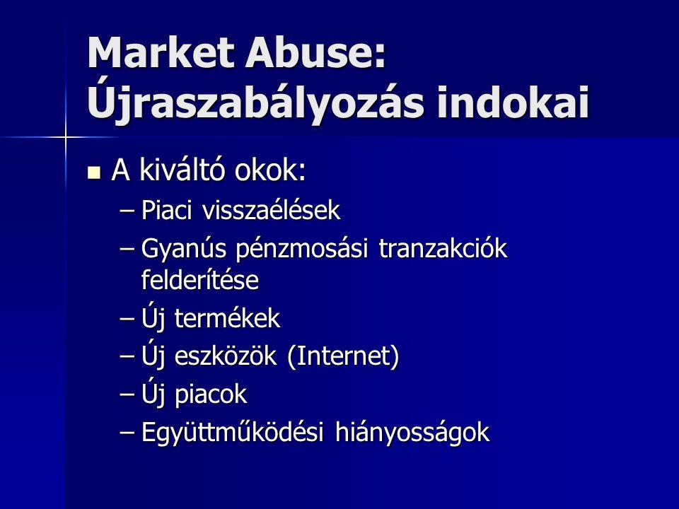 Market Abuse: Újraszabályozás indokai A kiváltó okok: A kiváltó okok: –Piaci visszaélések –Gyanús pénzmosási tranzakciók felderítése –Új termékek –Új eszközök (Internet) –Új piacok –Együttműködési hiányosságok