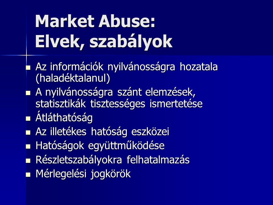 Market Abuse: Elvek, szabályok Az információk nyilvánosságra hozatala (haladéktalanul) Az információk nyilvánosságra hozatala (haladéktalanul) A nyilvánosságra szánt elemzések, statisztikák tisztességes ismertetése A nyilvánosságra szánt elemzések, statisztikák tisztességes ismertetése Átláthatóság Átláthatóság Az illetékes hatóság eszközei Az illetékes hatóság eszközei Hatóságok együttműködése Hatóságok együttműködése Részletszabályokra felhatalmazás Részletszabályokra felhatalmazás Mérlegelési jogkörök Mérlegelési jogkörök