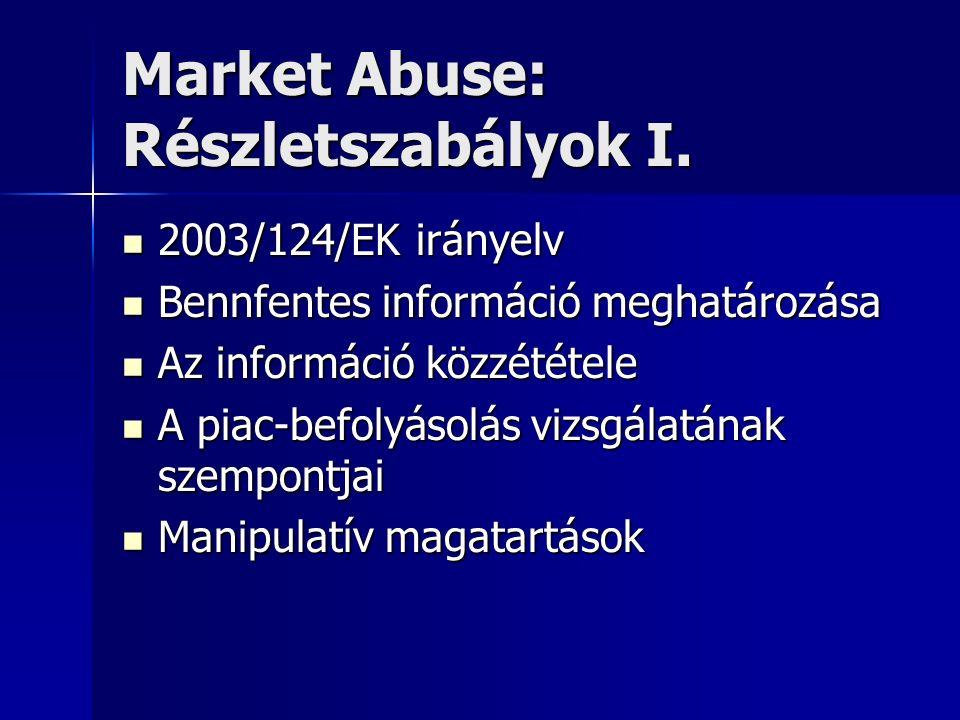 Market Abuse: Részletszabályok I. 2003/124/EK irányelv 2003/124/EK irányelv Bennfentes információ meghatározása Bennfentes információ meghatározása Az