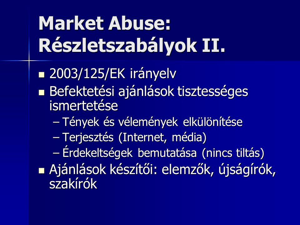 Market Abuse: Részletszabályok II. 2003/125/EK irányelv 2003/125/EK irányelv Befektetési ajánlások tisztességes ismertetése Befektetési ajánlások tisz