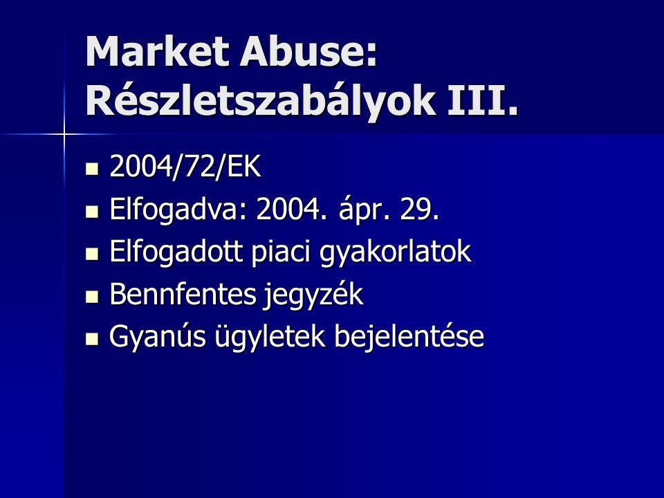 Market Abuse: Részletszabályok III. 2004/72/EK 2004/72/EK Elfogadva: 2004. ápr. 29. Elfogadva: 2004. ápr. 29. Elfogadott piaci gyakorlatok Elfogadott