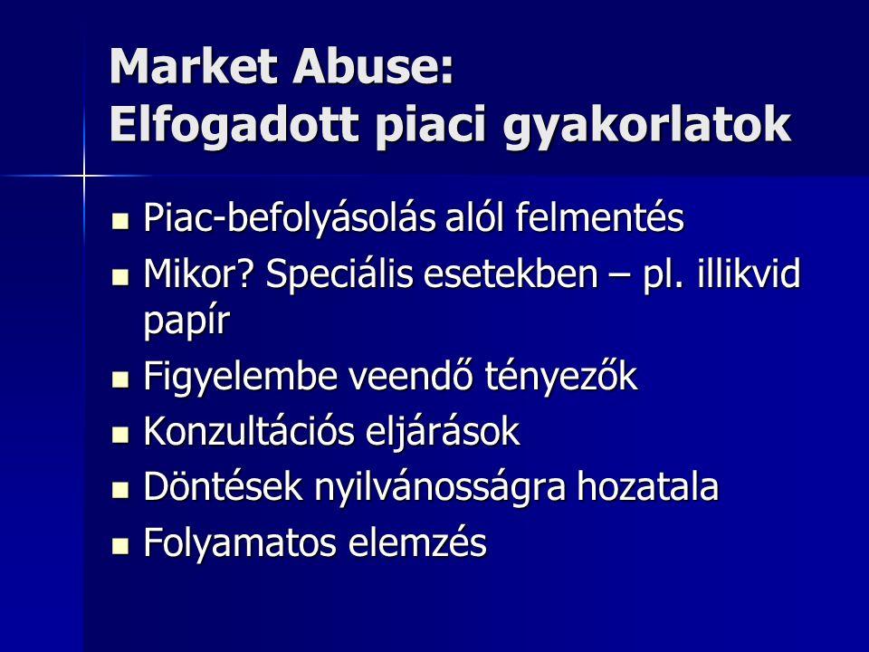 Market Abuse: Elfogadott piaci gyakorlatok Piac-befolyásolás alól felmentés Piac-befolyásolás alól felmentés Mikor? Speciális esetekben – pl. illikvid