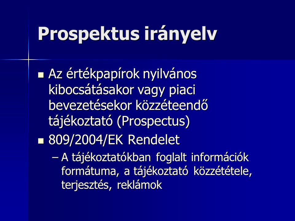 Prospektus irányelv Az értékpapírok nyilvános kibocsátásakor vagy piaci bevezetésekor közzéteendő tájékoztató (Prospectus) Az értékpapírok nyilvános kibocsátásakor vagy piaci bevezetésekor közzéteendő tájékoztató (Prospectus) 809/2004/EK Rendelet 809/2004/EK Rendelet –A tájékoztatókban foglalt információk formátuma, a tájékoztató közzététele, terjesztés, reklámok