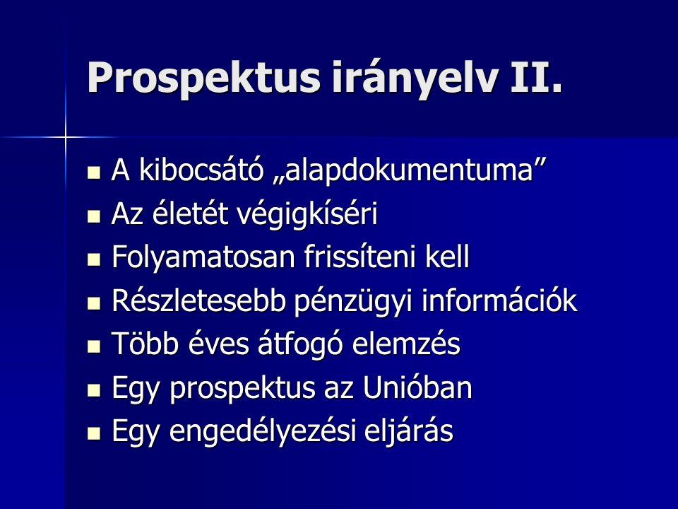 Prospektus irányelv II.