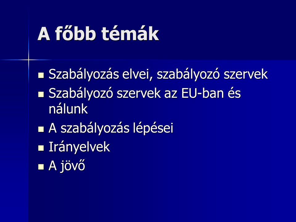 A főbb témák Szabályozás elvei, szabályozó szervek Szabályozás elvei, szabályozó szervek Szabályozó szervek az EU-ban és nálunk Szabályozó szervek az