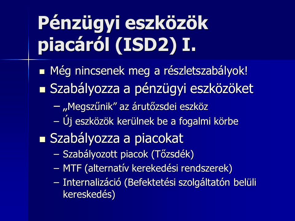 Pénzügyi eszközök piacáról (ISD2) I. Még nincsenek meg a részletszabályok! Még nincsenek meg a részletszabályok! Szabályozza a pénzügyi eszközöket Sza