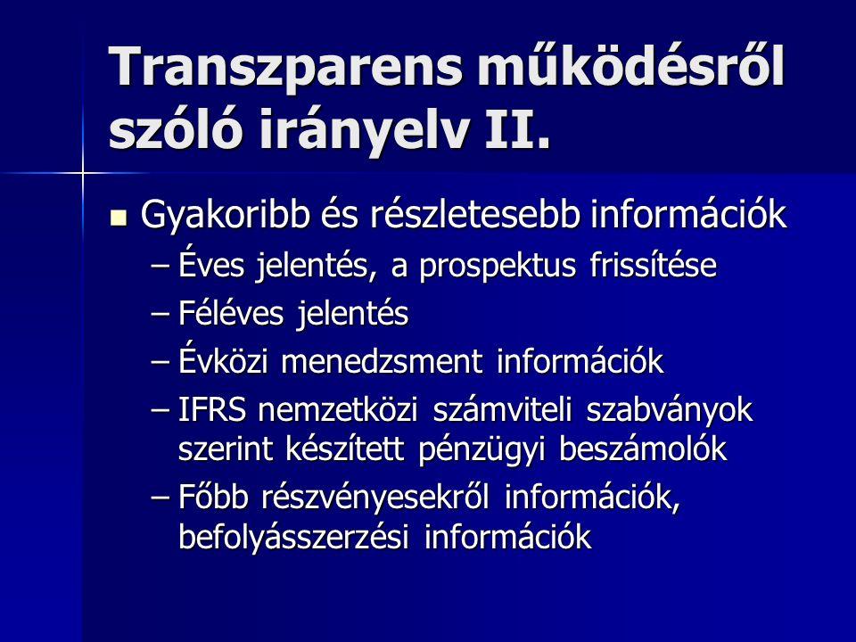Transzparens működésről szóló irányelv II. Gyakoribb és részletesebb információk Gyakoribb és részletesebb információk –Éves jelentés, a prospektus fr