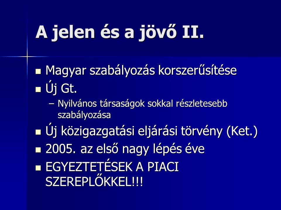 A jelen és a jövő II. Magyar szabályozás korszerűsítése Magyar szabályozás korszerűsítése Új Gt. Új Gt. –Nyilvános társaságok sokkal részletesebb szab