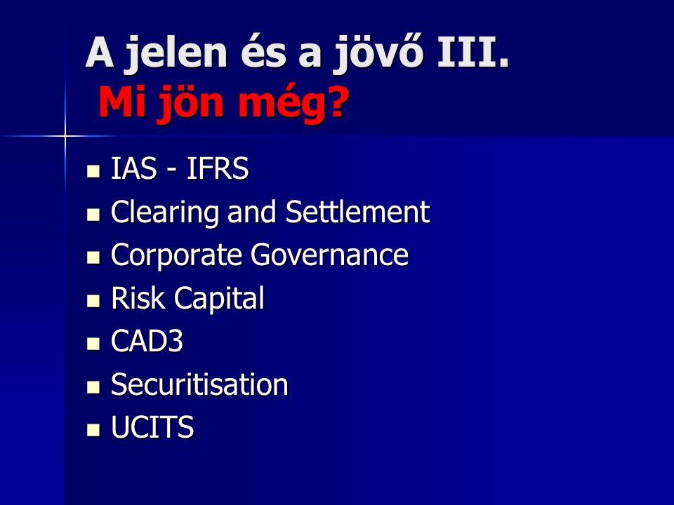 A jelen és a jövő III. Mi jön még? IAS - IFRS IAS - IFRS Clearing and Settlement Clearing and Settlement Corporate Governance Corporate Governance Ris