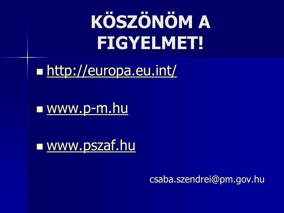 KÖSZÖNÖM A FIGYELMET! http://europa.eu.int/ http://europa.eu.int/ http://europa.eu.int/ www.p-m.hu www.p-m.hu www.p-m.hu www.pszaf.hu www.pszaf.hu www