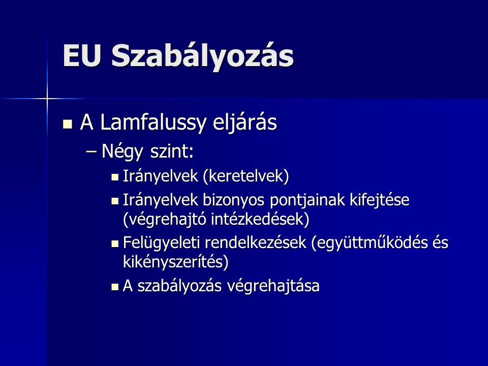 EU Szabályozás A Lamfalussy eljárás A Lamfalussy eljárás –Négy szint: Irányelvek (keretelvek) Irányelvek (keretelvek) Irányelvek bizonyos pontjainak kifejtése (végrehajtó intézkedések) Irányelvek bizonyos pontjainak kifejtése (végrehajtó intézkedések) Felügyeleti rendelkezések (együttműködés és kikényszerítés) Felügyeleti rendelkezések (együttműködés és kikényszerítés) A szabályozás végrehajtása A szabályozás végrehajtása
