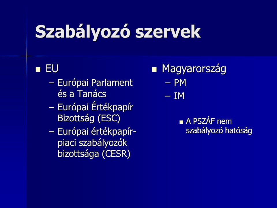 Szabályozó szervek EU EU –Európai Parlament és a Tanács –Európai Értékpapír Bizottság (ESC) –Európai értékpapír- piaci szabályozók bizottsága (CESR) Magyarország Magyarország –PM –IM A PSZÁF nem szabályozó hatóság