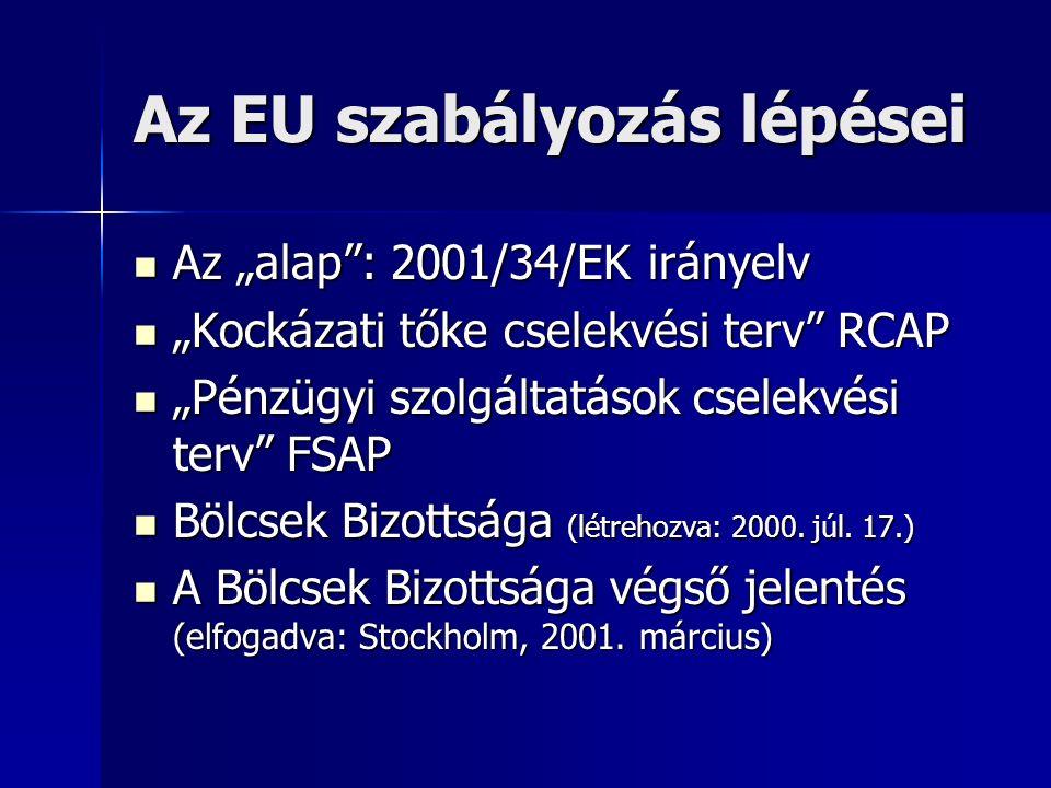 """Az EU szabályozás lépései Az """"alap : 2001/34/EK irányelv Az """"alap : 2001/34/EK irányelv """"Kockázati tőke cselekvési terv RCAP """"Kockázati tőke cselekvési terv RCAP """"Pénzügyi szolgáltatások cselekvési terv FSAP """"Pénzügyi szolgáltatások cselekvési terv FSAP Bölcsek Bizottsága (létrehozva: 2000."""