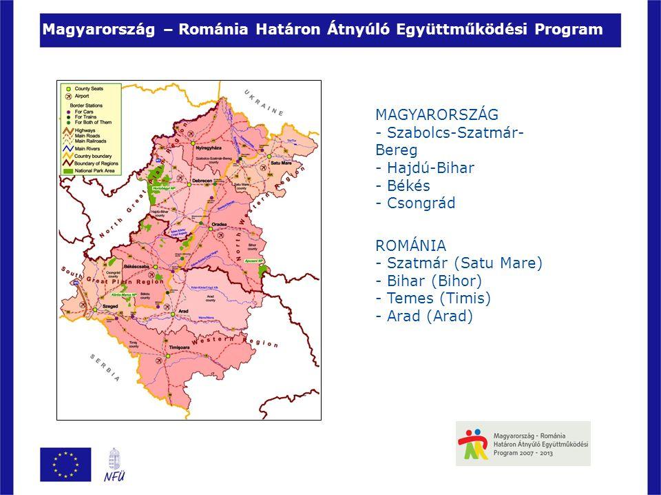 Magyarország – Románia Határon Átnyúló Együttműködési Program MAGYARORSZÁG - Szabolcs-Szatmár- Bereg - Hajdú-Bihar - Békés - Csongrád ROMÁNIA - Szatmár (Satu Mare) - Bihar (Bihor) - Temes (Timis) - Arad (Arad)