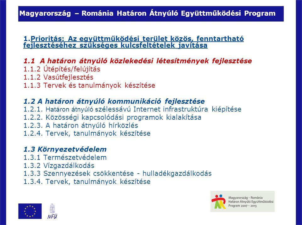 Magyarország – Románia Határon Átnyúló Együttműködési Program 1.Prioritás: Az együttműködési terület közös, fenntartható fejlesztéséhez szükséges kulcsfeltételek javítása 1.1 A határon átnyúló közlekedési létesítmények fejlesztése 1.1.2 Útépítés/felújítás 1.1.2 Vasútfejlesztés 1.1.3 Tervek és tanulmányok készítése 1.2 A határon átnyúló kommunikáció fejlesztése 1.2.1.