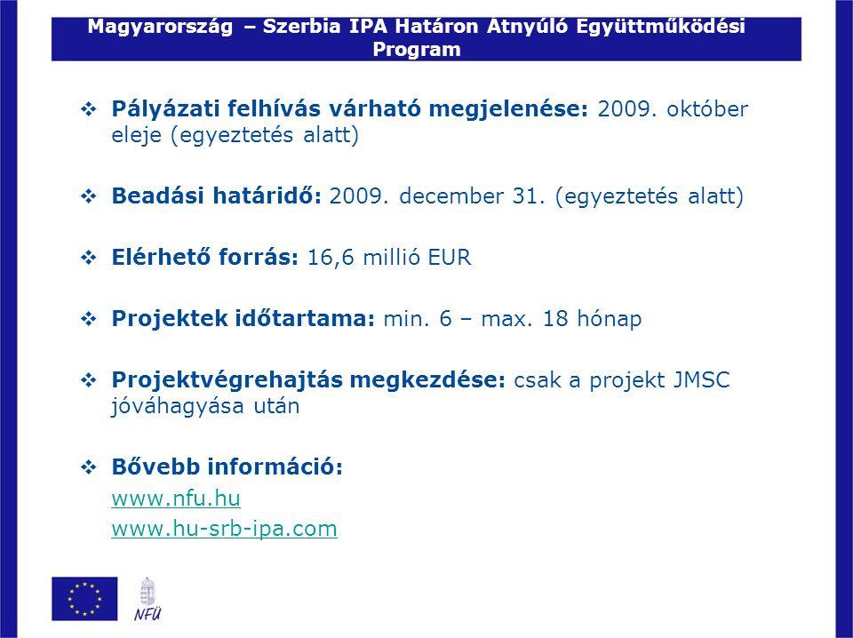Magyarország – Szerbia IPA Határon Átnyúló Együttműködési Program  Pályázati felhívás várható megjelenése: 2009. október eleje (egyeztetés alatt)  B