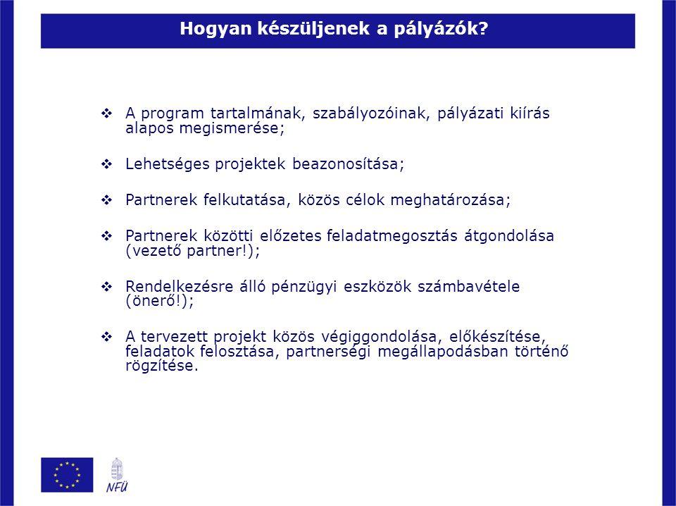  A program tartalmának, szabályozóinak, pályázati kiírás alapos megismerése;  Lehetséges projektek beazonosítása;  Partnerek felkutatása, közös cél