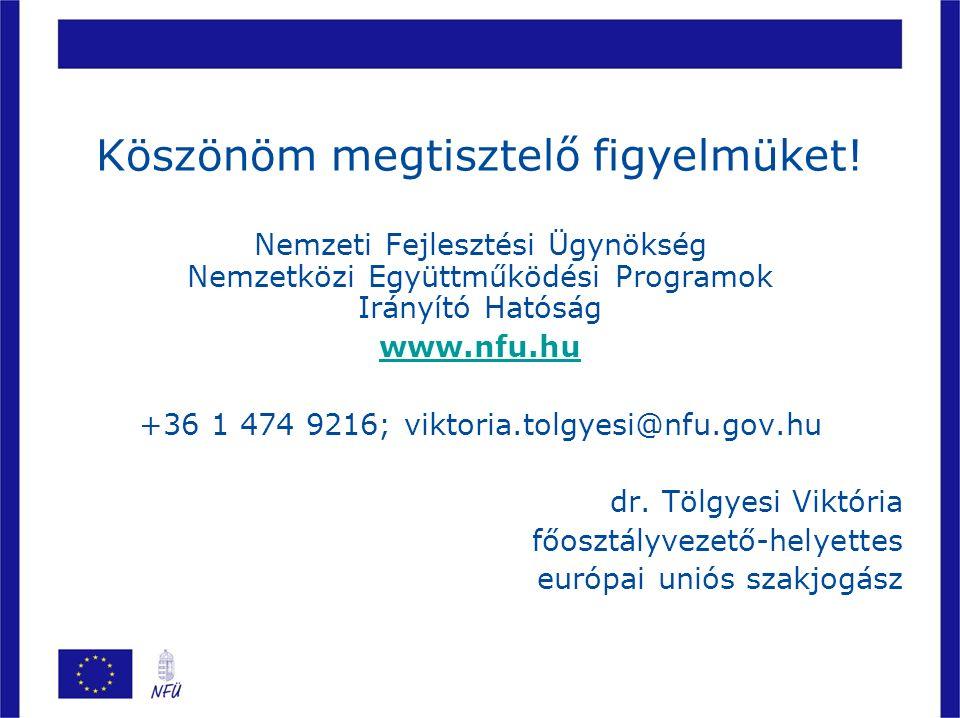 Köszönöm megtisztelő figyelmüket! Nemzeti Fejlesztési Ügynökség Nemzetközi Együttműködési Programok Irányító Hatóság www.nfu.hu.nfu.hu +36 1 474 9216;