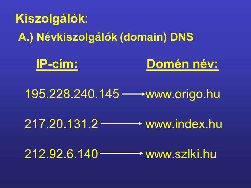 2. A számítógép azonosítása a hálózaton IP cím – Internet Protokoll Típusai Dinamikus – változó A kiszolgálásra jelentkező gép a soron következő IP sz