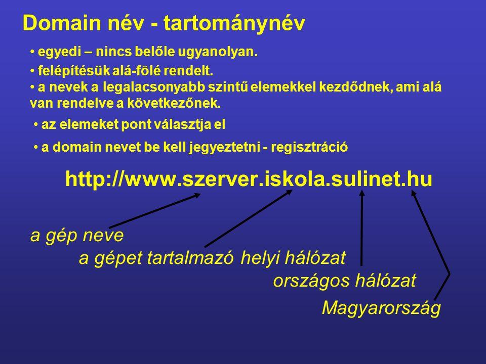 IP-cím: 195.228.240.145 217.20.131.2 212.92.6.140 Domén név: www.origo.hu www.index.hu www.szlki.hu Kiszolgálók: A.) Névkiszolgálók (domain) DNS