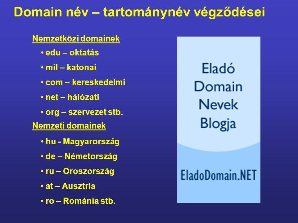 http://www.szerver.iskola.sulinet.hu a gép neve a gépet tartalmazó helyi hálózat országos hálózat Magyarország Domain név - tartománynév egyedi – nincs belőle ugyanolyan.