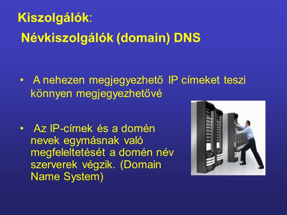 Domain név – tartománynév végződései Nemzetközi domainek edu – oktatás mil – katonai com – kereskedelmi net – hálózati org – szervezet stb.