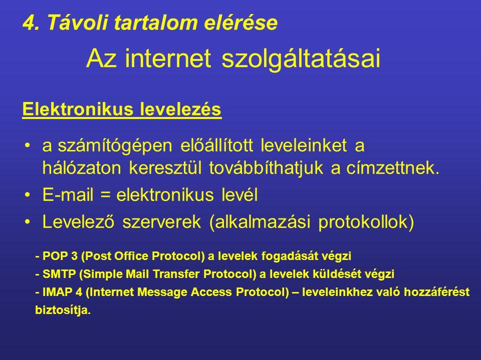 Az internet szolgáltatásai Elektronikus levelezés Az internet különböző felhasználási területeit az internet szolgáltatásainak is nevezzük.