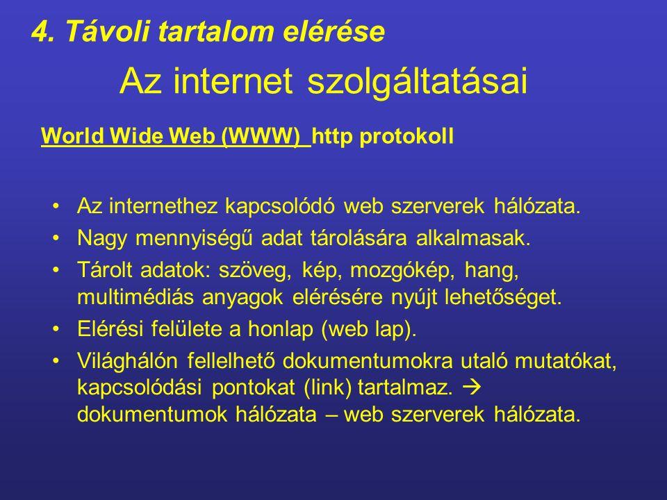 Az internet szolgáltatásai a számítógépen előállított leveleinket a hálózaton keresztül továbbíthatjuk a címzettnek.