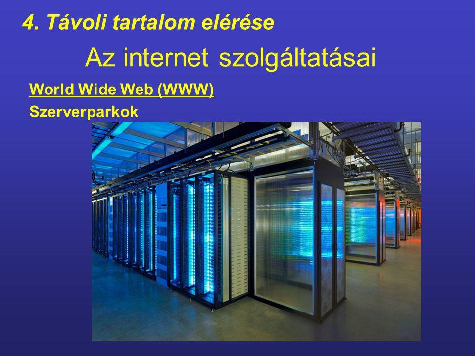 Az internet szolgáltatásai Az internethez kapcsolódó web szerverek hálózata.