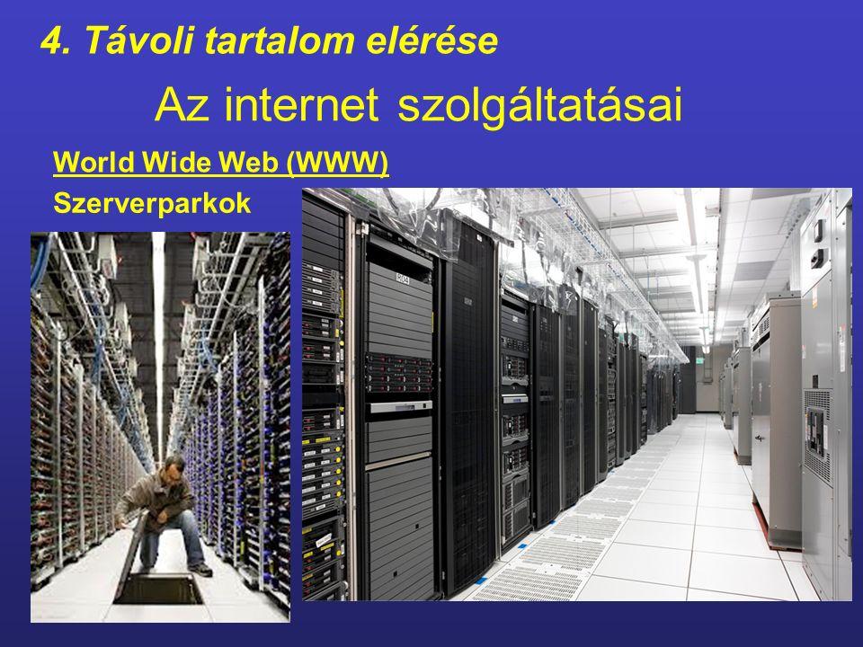 Az internet szolgáltatásai 4. Távoli tartalom elérése World Wide Web (WWW) Szerverparkok