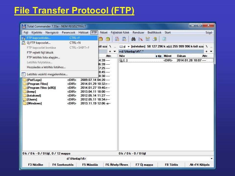 Az internet szolgáltatásai File Transfer Protocol (FTP) 4.