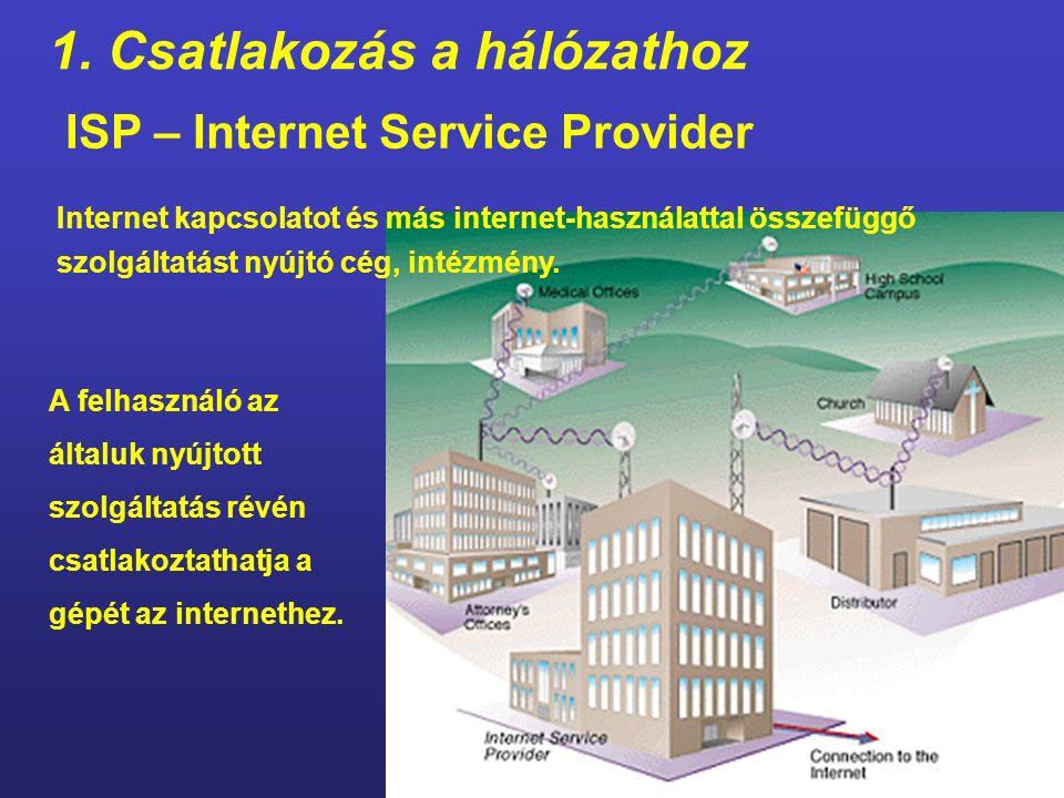 1. Csatlakozás a hálózathoz A számítógép csatlakozását biztosító eszközök router Alapértelmezett átjáró címe Alhálózati maszk (subnet mask) Az egyik p