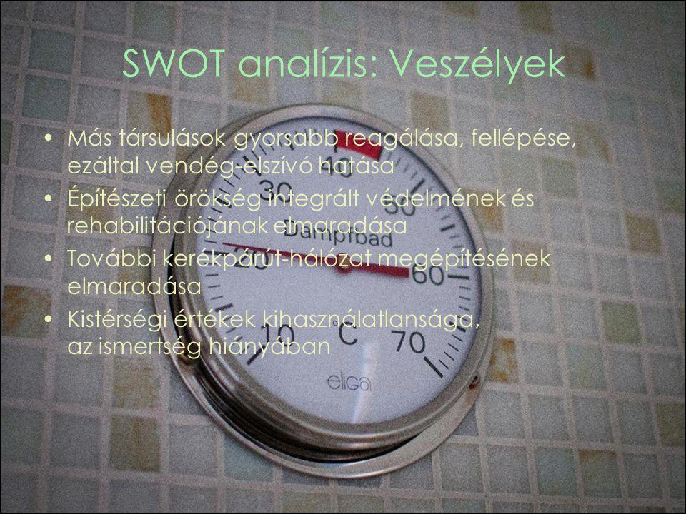 SWOT analízis: Veszélyek Más társulások gyorsabb reagálása, fellépése, ezáltal vendég-elszívó hatása Építészeti örökség integrált védelmének és rehabilitációjának elmaradása További kerékpárút-hálózat megépítésének elmaradása Kistérségi értékek kihasználatlansága, az ismertség hiányában