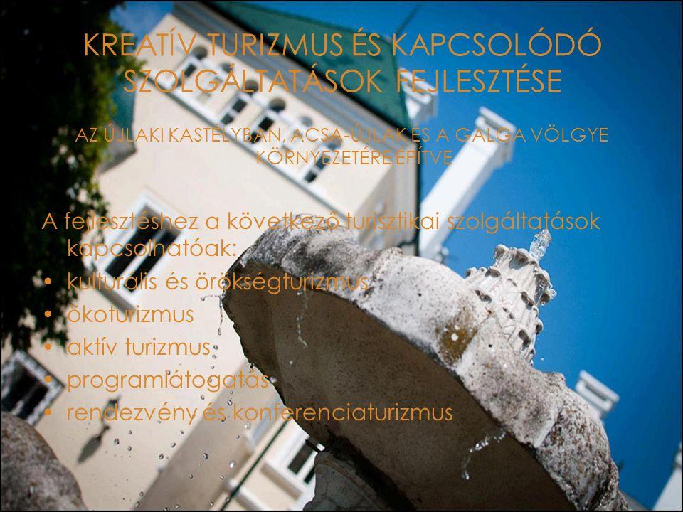 KREATÍV TURIZMUS ÉS KAPCSOLÓDÓ SZOLGÁLTATÁSOK FEJLESZTÉSE AZ ÚJLAKI KASTÉLYBAN, ACSA-ÚJLAK ÉS A GALGA VÖLGYE KÖRNYEZETÉRE ÉPÍTVE A fejlesztéshez a következő turisztikai szolgáltatások kapcsolhatóak: kulturális és örökségturizmus ökoturizmus aktív turizmus programlátogatás rendezvény és konferenciaturizmus