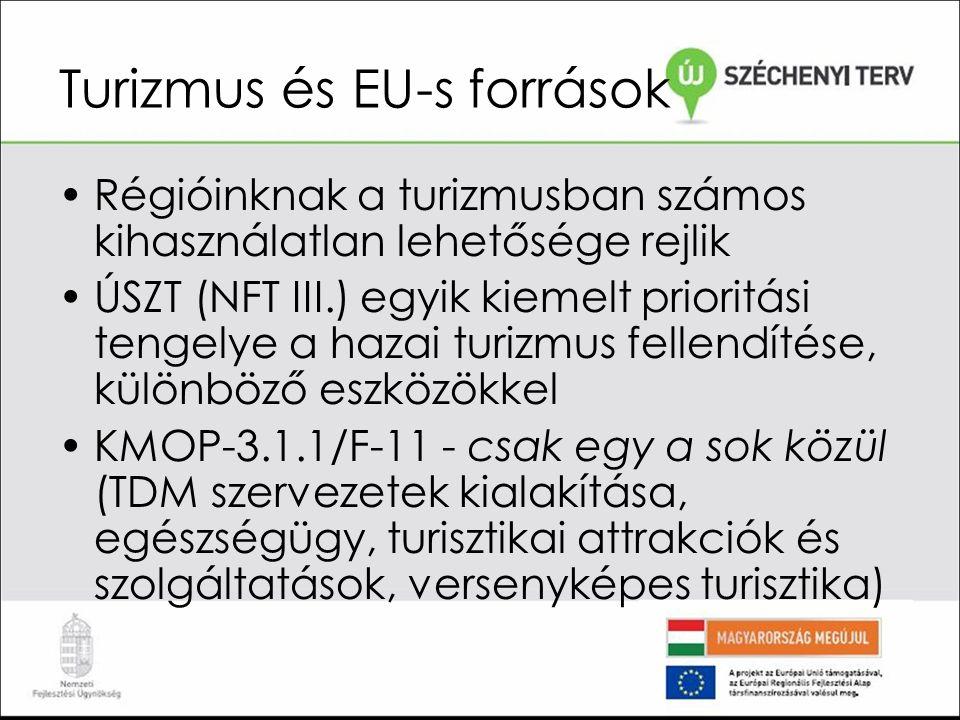 Turizmus és EU-s források Régióinknak a turizmusban számos kihasználatlan lehetősége rejlik ÚSZT (NFT III.) egyik kiemelt prioritási tengelye a hazai turizmus fellendítése, különböző eszközökkel KMOP-3.1.1/F-11 - csak egy a sok közül (TDM szervezetek kialakítása, egészségügy, turisztikai attrakciók és szolgáltatások, versenyképes turisztika)