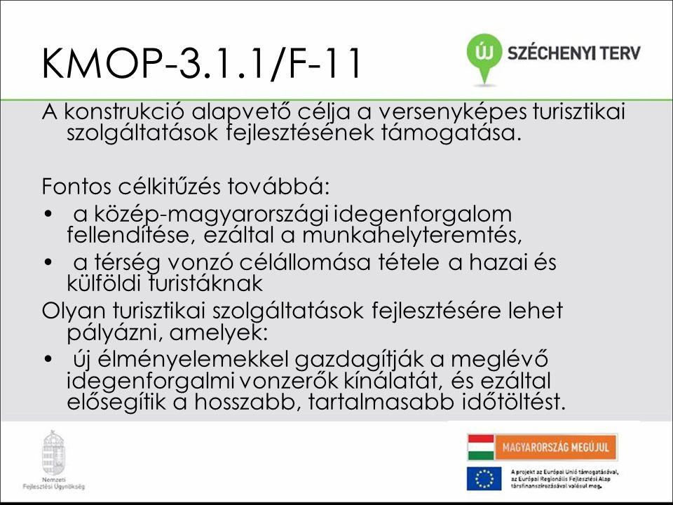 KMOP-3.1.1/F-11 A fejlesztési célok között turisztikai attrakciók, garantált programok, eszközkölcsönzés, városnézési program, vendéglátóegységek egyaránt szerepelhetnek, csakúgy, mint eszközbeszerzés és infrastruktúrafejlesztés.