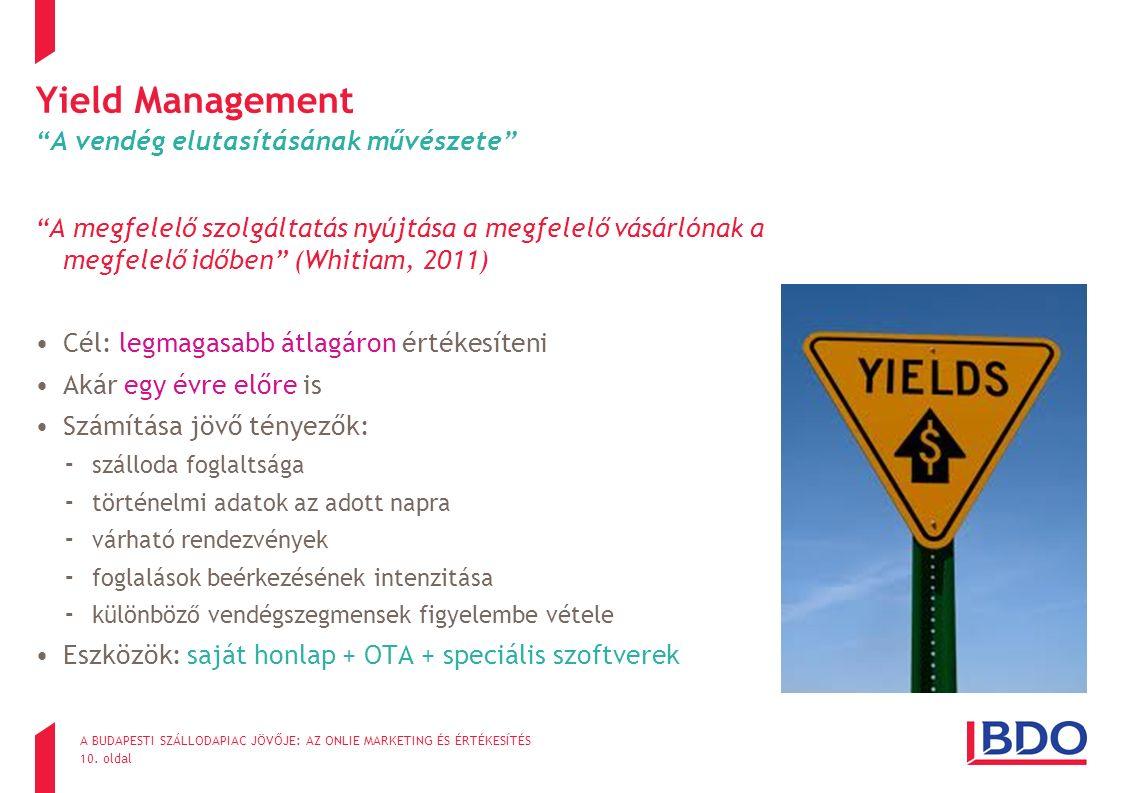 """10. oldal Yield Management """"A vendég elutasításának művészete"""" """"A megfelelő szolgáltatás nyújtása a megfelelő vásárlónak a megfelelő időben"""" (Whitiam,"""