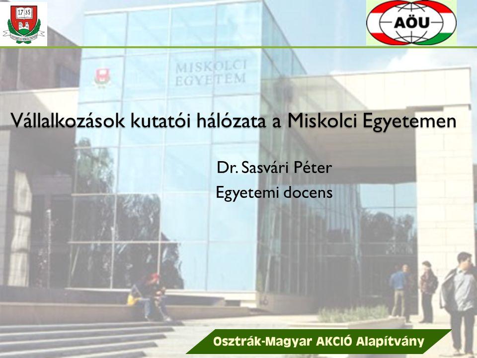 Vállalkozások kutatói hálózata a Miskolci Egyetemen Dr. Sasvári Péter Egyetemi docens 1