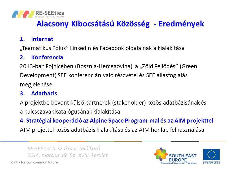 """Alacsony Kibocsátású Közösség - Eredmények 1.Internet """"Teamatikus Pólus"""" Linkedln és Facebook oldalainak a kialakítása 2. Konferencia 2013-ban Fojnicé"""