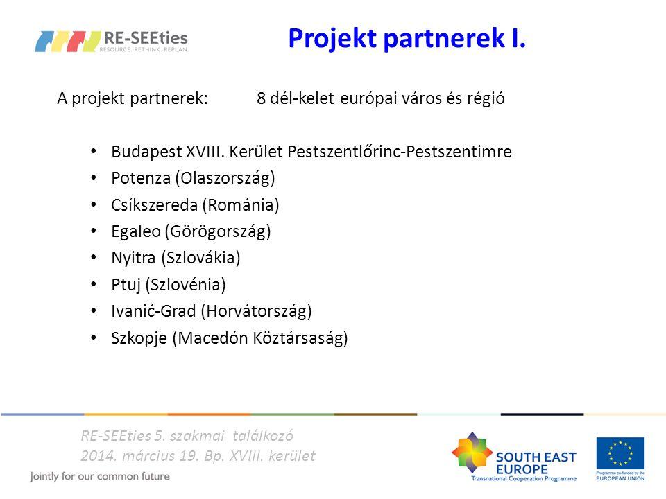 Projekt partnerek I. A projekt partnerek: 8 dél-kelet európai város és régió Budapest XVIII. Kerület Pestszentlőrinc-Pestszentimre Potenza (Olaszorszá
