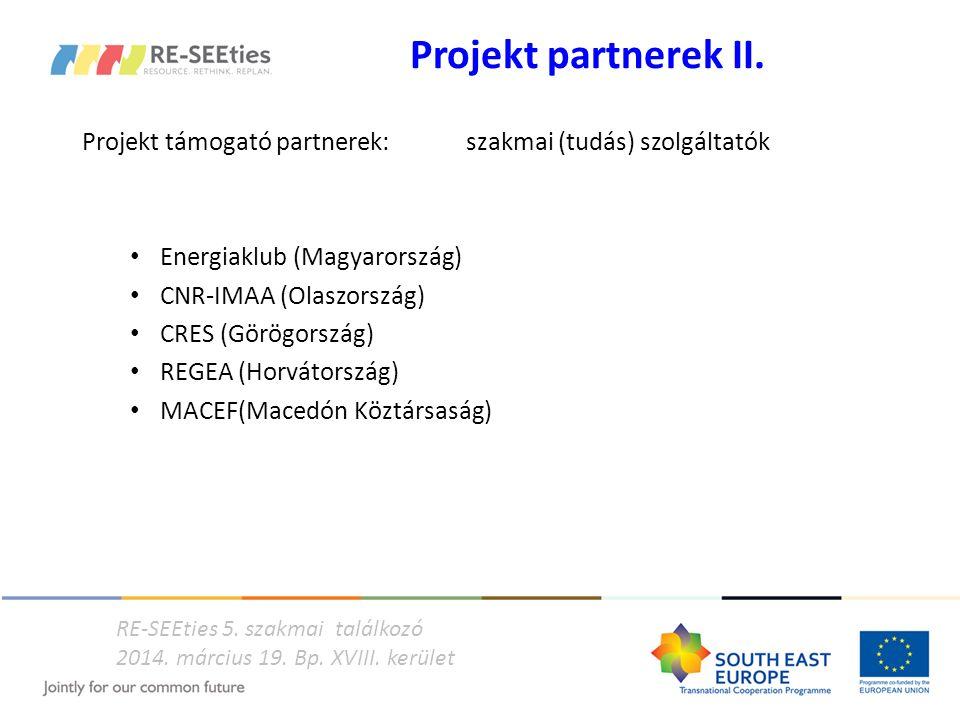 Projekt partnerek II. Projekt támogató partnerek: szakmai (tudás) szolgáltatók Energiaklub (Magyarország) CNR-IMAA (Olaszország) CRES (Görögország) RE