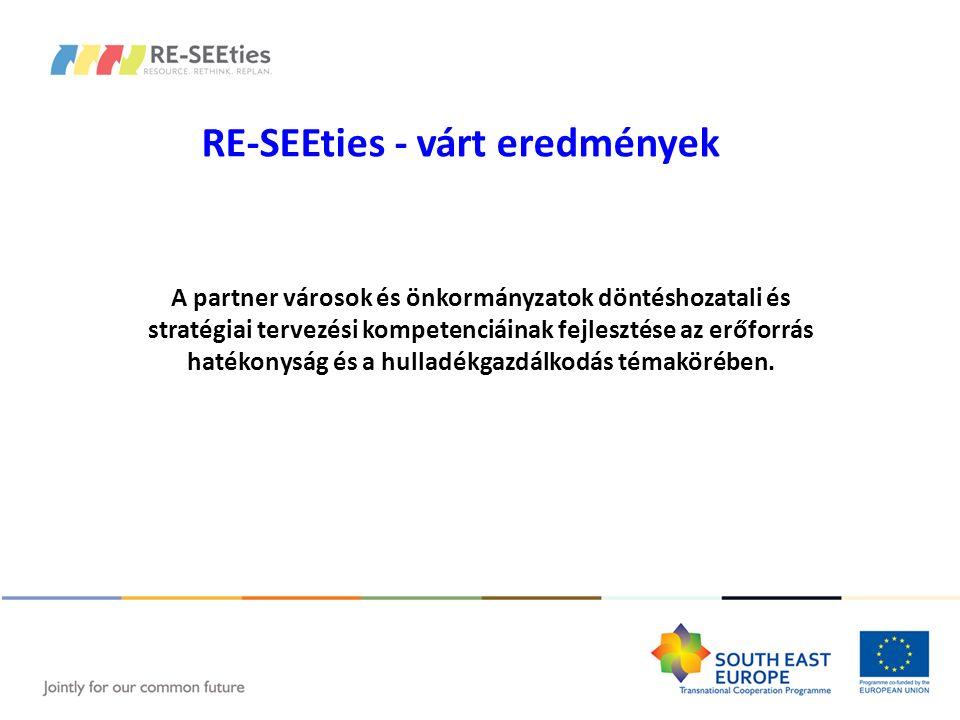 RE-SEEties - várt eredmények A partner városok és önkormányzatok döntéshozatali és stratégiai tervezési kompetenciáinak fejlesztése az erőforrás haték