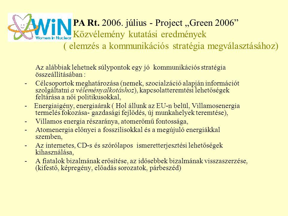 Az alábbiak lehetnek súlypontok egy jó kommunikációs stratégia összeállításában : - Célcsoportok meghatározása (nemek, szocialzáció alapján információt szolgáltatni a véleményalkotáshoz), kapcsolatteremtési lehetőségek feltárása a női politikusokkal, - Energiaigény, energiaárak ( Hol állunk az EU-n belül, Villamosenergia termelés fokozása- gazdasági fejlődés, új munkahelyek teremtése), -Villamos energia részaránya, atomerőmű fontossága, -Atomenergia előnyei a fosszilisokkal és a megújuló energiákkal szemben, -Az internetes, CD-s és szórólapos ismeretterjesztési lehetőségek kihasználása, -A fiatalok bizalmának erősítése, az idősebbek bizalmának visszaszerzése, (kifestő, képregény, előadás sorozatok, párbeszéd) PA Rt.
