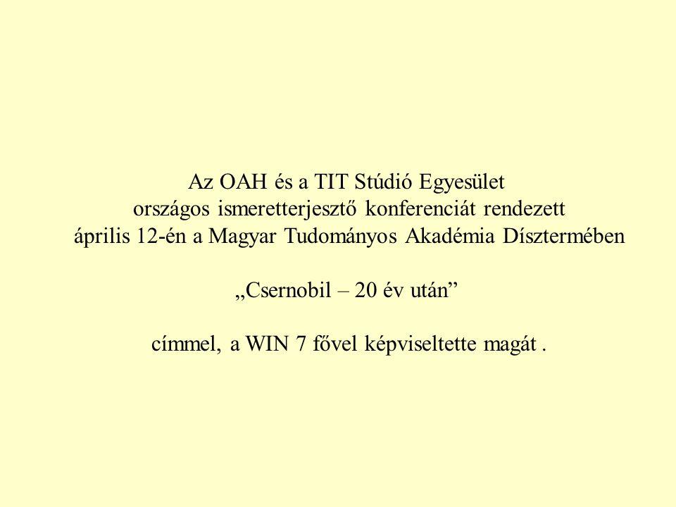 """Az OAH és a TIT Stúdió Egyesület országos ismeretterjesztő konferenciát rendezett április 12-én a Magyar Tudományos Akadémia Dísztermében """"Csernobil – 20 év után címmel, a WIN 7 fővel képviseltette magát."""