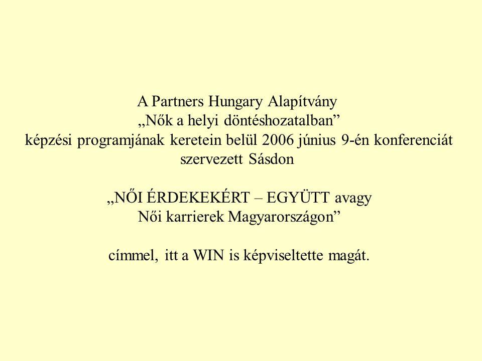 """A Partners Hungary Alapítvány """"Nők a helyi döntéshozatalban képzési programjának keretein belül 2006 június 9-én konferenciát szervezett Sásdon """"NŐI ÉRDEKEKÉRT – EGYÜTT avagy Női karrierek Magyarországon címmel, itt a WIN is képviseltette magát."""