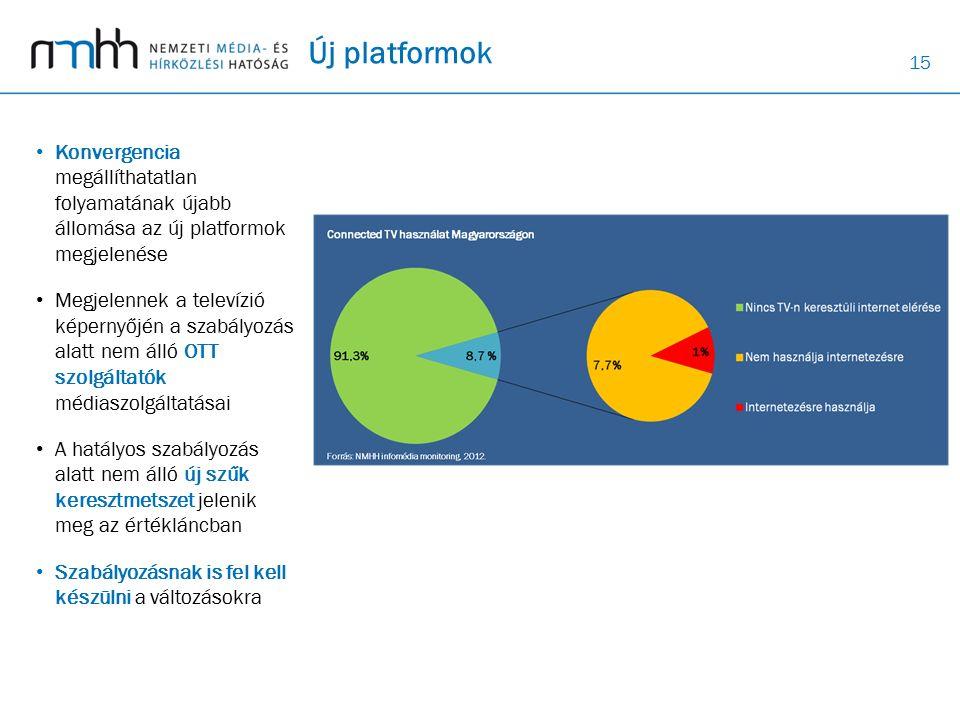 15 Új platformok Konvergencia megállíthatatlan folyamatának újabb állomása az új platformok megjelenése Megjelennek a televízió képernyőjén a szabályozás alatt nem álló OTT szolgáltatók médiaszolgáltatásai A hatályos szabályozás alatt nem álló új szűk keresztmetszet jelenik meg az értékláncban Szabályozásnak is fel kell készülni a változásokra