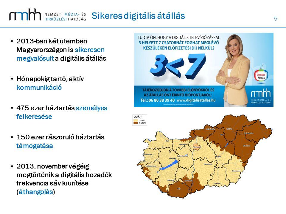 5 Sikeres digitális átállás 2013-ban két ütemben Magyarországon is sikeresen megvalósult a digitális átállás Hónapokig tartó, aktív kommunikáció 475 ezer háztartás személyes felkeresése 150 ezer rászoruló háztartás támogatása 2013.