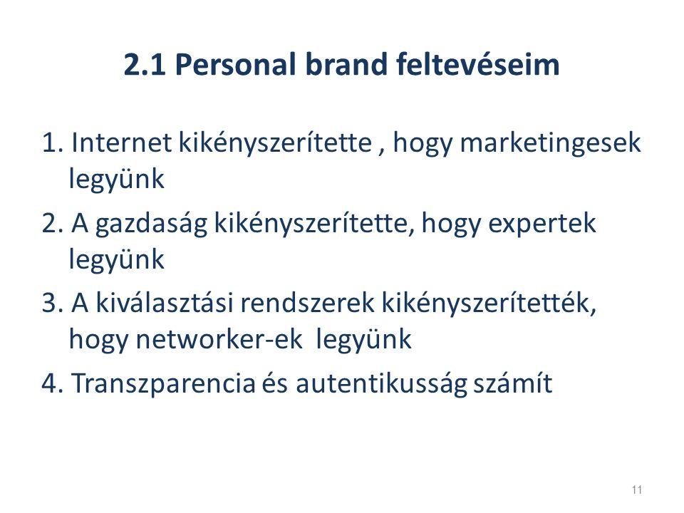 2.1 Personal brand feltevéseim 1. Internet kikényszerítette, hogy marketingesek legyünk 2.